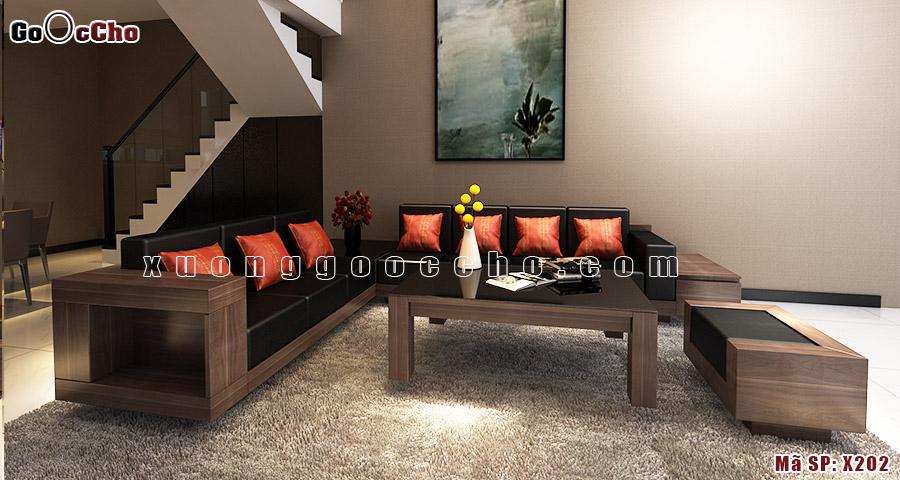 Sofa gỗ óc chó X202 a