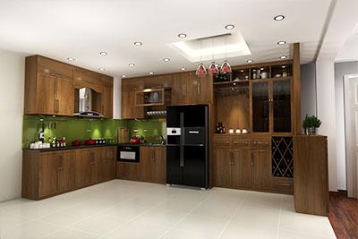 Tủ bếp gỗ óc chó X802