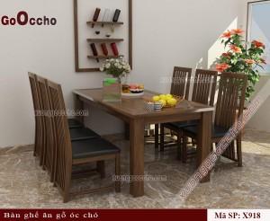 bàn ghế ăn gỗ óc chó X918