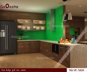 tủ bếp gỗ óc chó X820