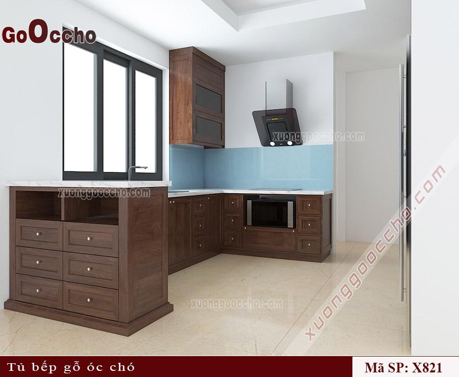 thiết kế tủ bếp gỗ óc chó