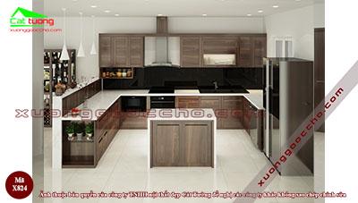 Tủ bếp gỗ Óc Chó X824